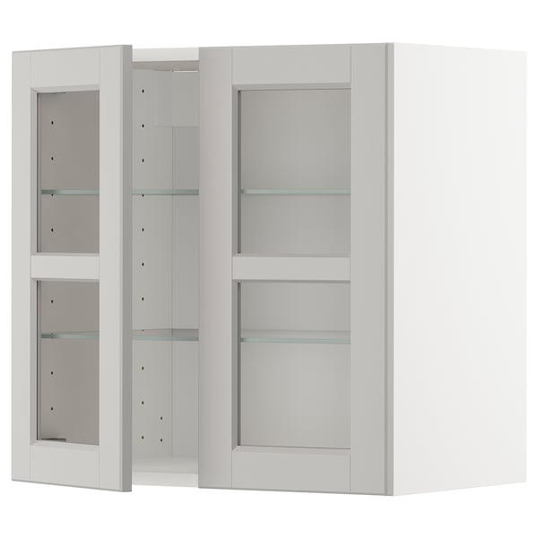METOD خزانة حائط مع أرفف/بابين زجاجية, أبيض/Lerhyttan رمادي فاتح, 60x60 سم