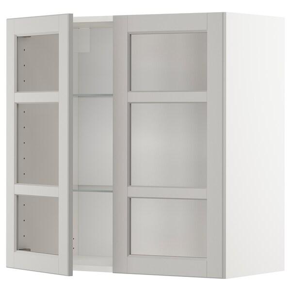 METOD خزانة حائط مع أرفف/بابين زجاجية, أبيض/Lerhyttan رمادي فاتح, 80x80 سم