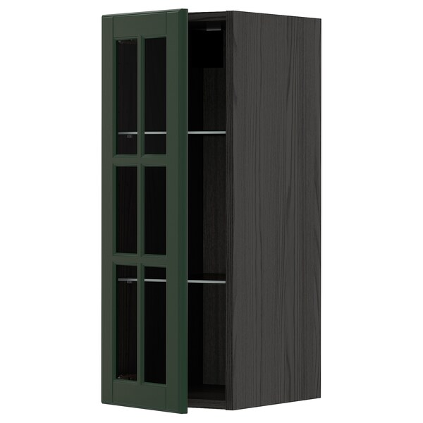 METOD Wall cabinet w shelves/glass door, black/Bodbyn dark green, 30x80 cm