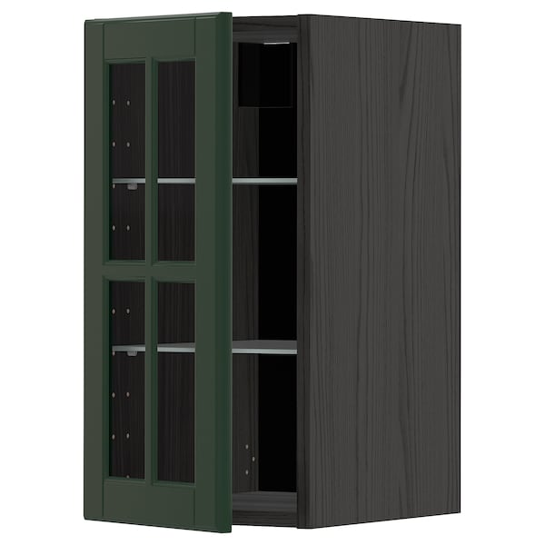 METOD Wall cabinet w shelves/glass door, black/Bodbyn dark green, 30x60 cm