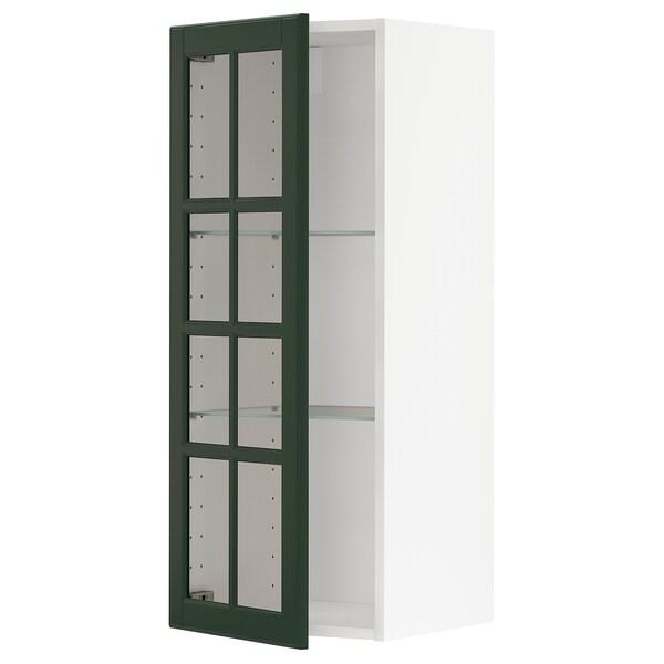 METOD Wall cabinet w shelves/glass door, white/Bodbyn dark green, 40x100 cm