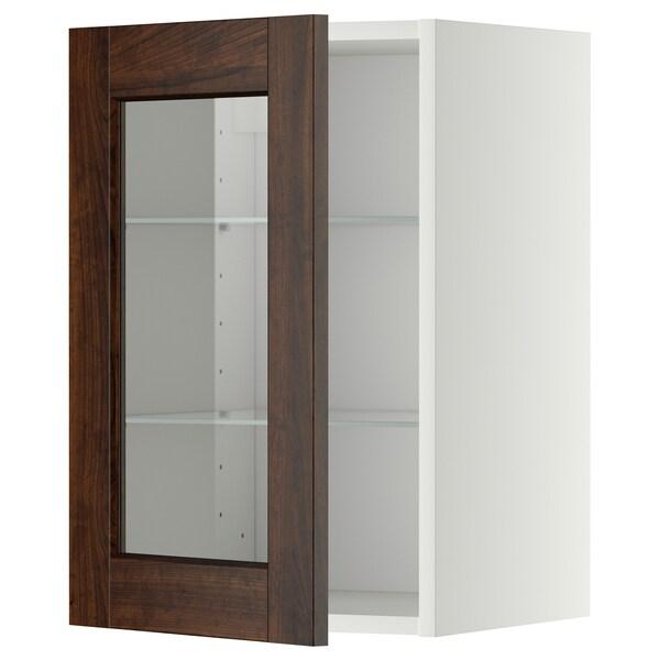 METOD Wall cabinet w shelves/glass door, white/Edserum brown, 40x60 cm