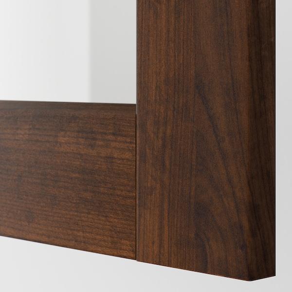 METOD Wall cabinet w shelves/glass door, white/Edserum brown, 30x80 cm