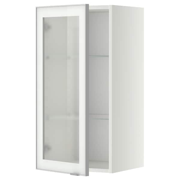 METOD Wall cabinet w shelves/glass door, white/Jutis frosted glass, 40x80 cm