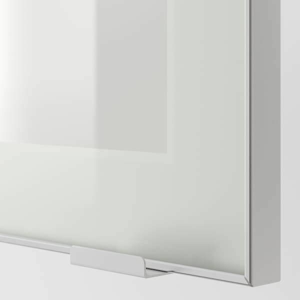 METOD Wall cabinet w shelves/glass door, white/Jutis frosted glass, 30x80 cm