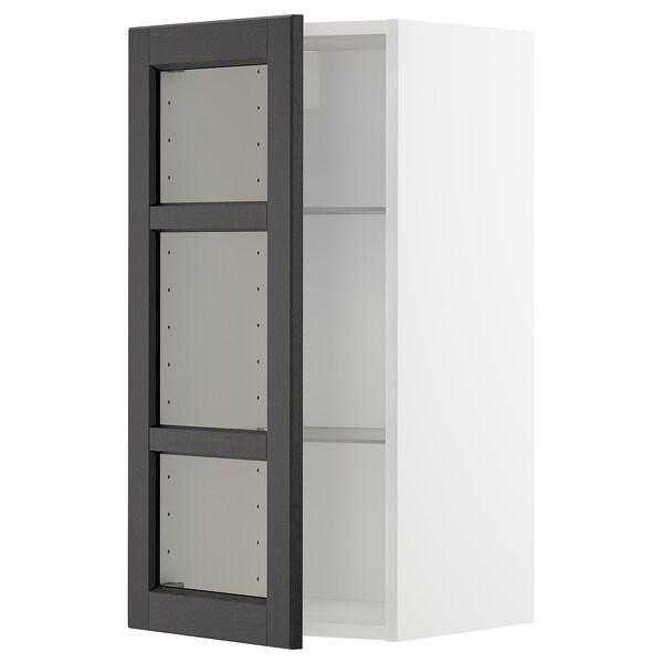 METOD Wall cabinet w shelves/glass door, white/Lerhyttan black stained, 40x80 cm
