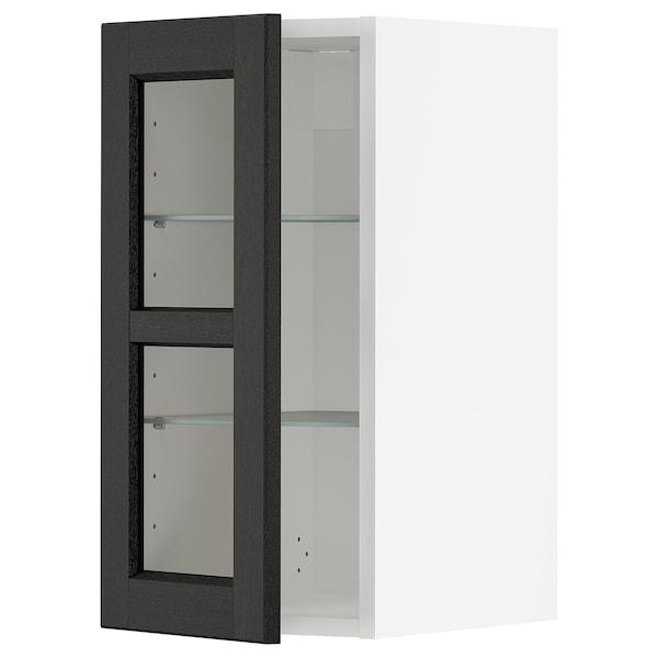 METOD Wall cabinet w shelves/glass door, white/Lerhyttan black stained, 30x60 cm