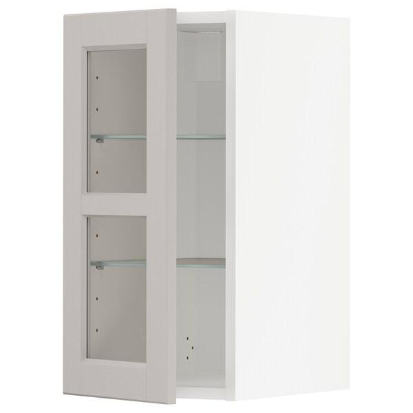 METOD Wall cabinet w shelves/glass door, white/Lerhyttan light grey, 30x60 cm