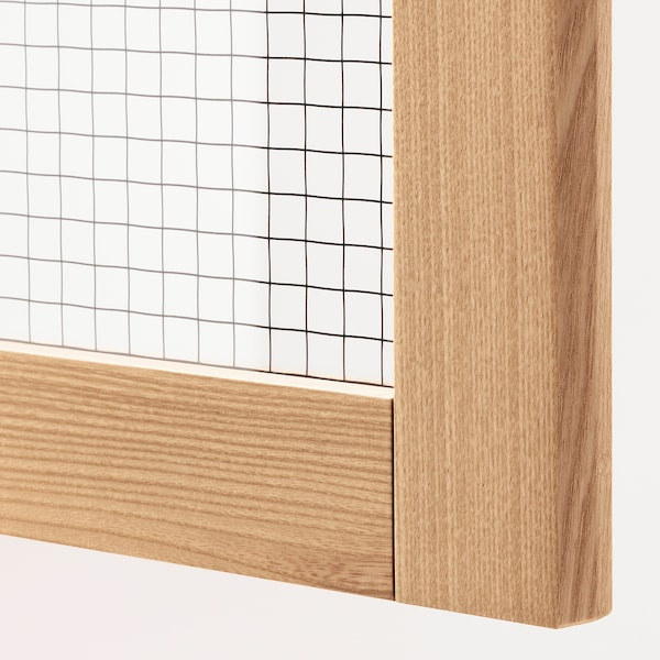 METOD Wall cabinet w shelves/glass door, white/Torhamn ash, 30x60 cm