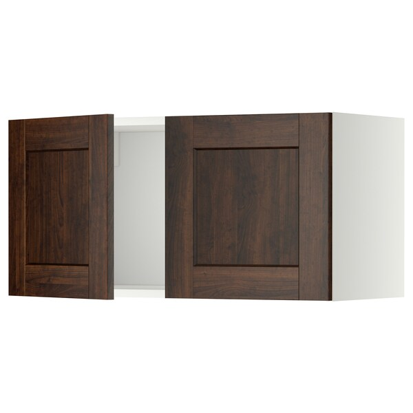 METOD Wall cabinet with 2 doors, white/Edserum brown, 80x40 cm