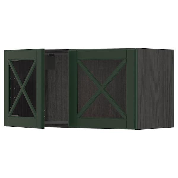 METOD Wall cabinet with 2 glass doors, black/Bodbyn dark green, 80x40 cm