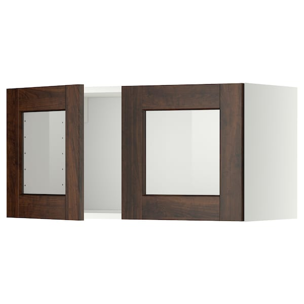METOD Wall cabinet with 2 glass doors, white/Edserum brown, 80x40 cm
