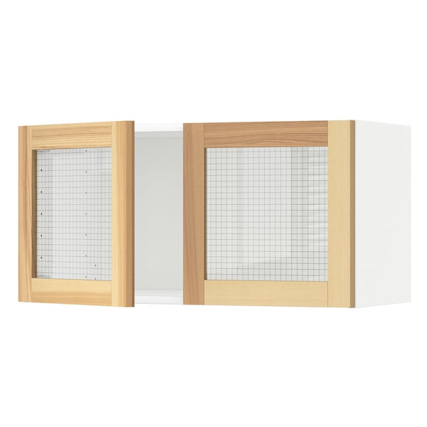 METOD Wall cabinet with 2 glass doors, white/Torhamn ash, 80x40 cm
