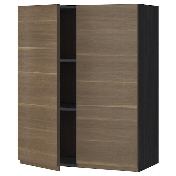 METOD خزانة حائط مع أرفف/بابين, أسود/Voxtorp شكل خشب الجوز, 80x100 سم