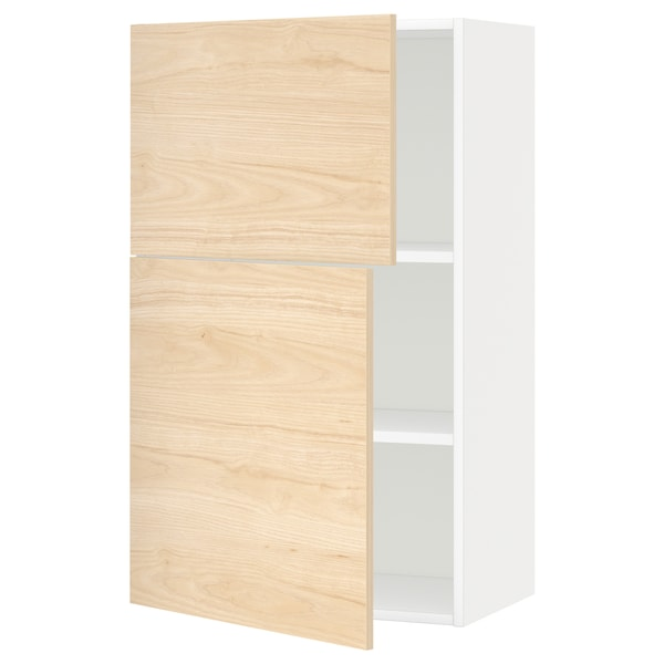 METOD Wall cabinet with shelves/2 doors, white/Askersund light ash effect, 60x100 cm