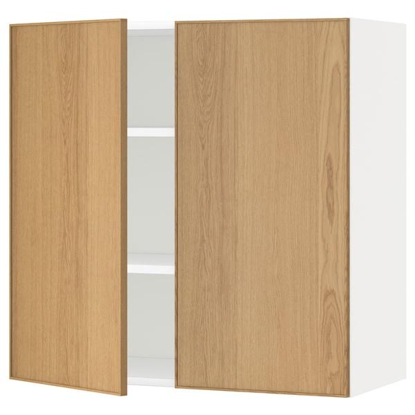 METOD خزانة حائط مع أرفف/بابين, أبيض/Ekestad سنديان, 80x80 سم