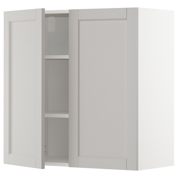 METOD خزانة حائط مع أرفف/بابين, أبيض/Lerhyttan رمادي فاتح, 80x80 سم