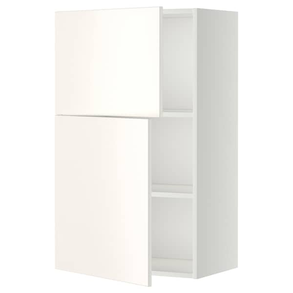 METOD Wall cabinet with shelves/2 doors, white/Veddinge white, 60x100 cm
