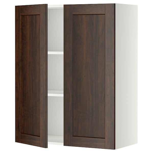 METOD wall cabinet with shelves/2 doors white/Edserum brown 80.0 cm 38.8 cm 100.0 cm