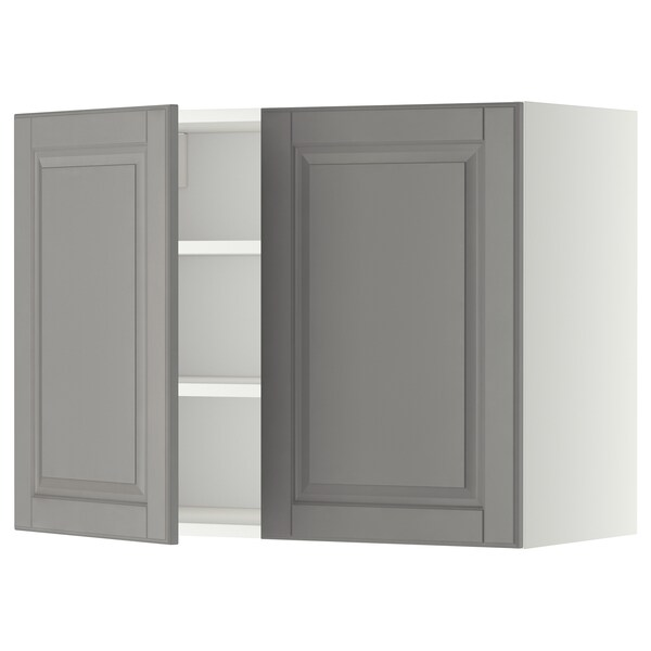 METOD wall cabinet with shelves/2 doors white/Bodbyn grey 80.0 cm 38.9 cm 60.0 cm