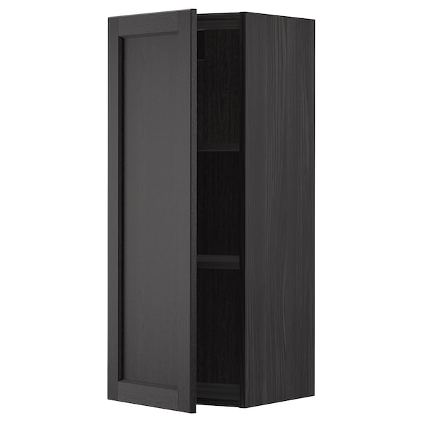 METOD wall cabinet with shelves black/Lerhyttan black stained 40.0 cm 38.9 cm 100.0 cm