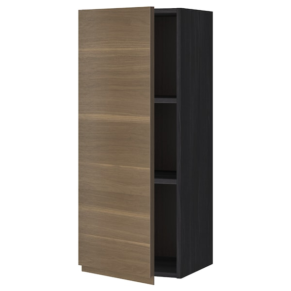 METOD Wall cabinet with shelves, black/Voxtorp walnut effect, 40x100 cm