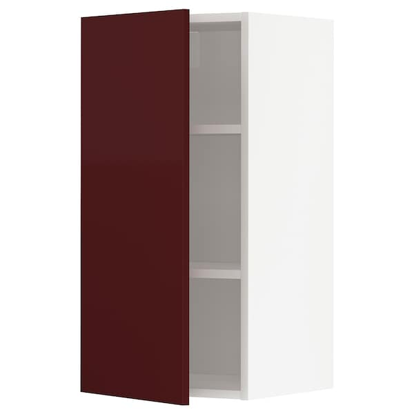 METOD Wall cabinet with shelves, white Kallarp/high-gloss dark red-brown, 40x80 cm