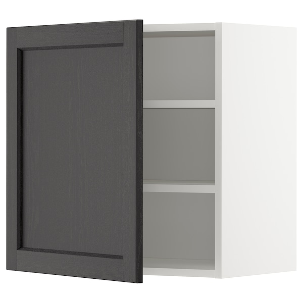 METOD Wall cabinet with shelves, white/Lerhyttan black stained, 60x60 cm