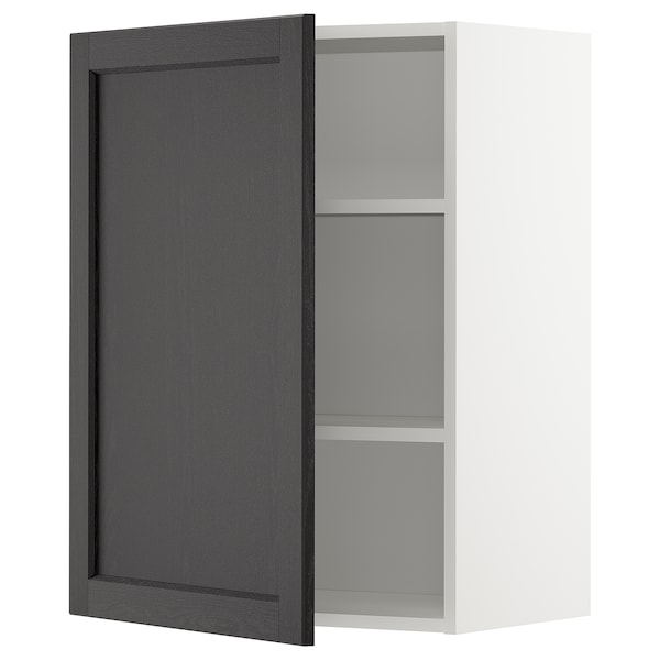METOD Wall cabinet with shelves, white/Lerhyttan black stained, 60x80 cm