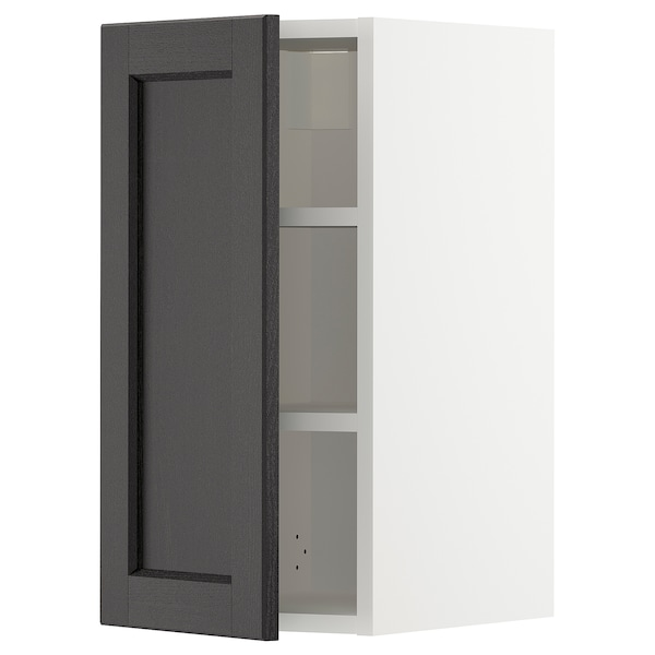 METOD Wall cabinet with shelves, white/Lerhyttan black stained, 30x60 cm