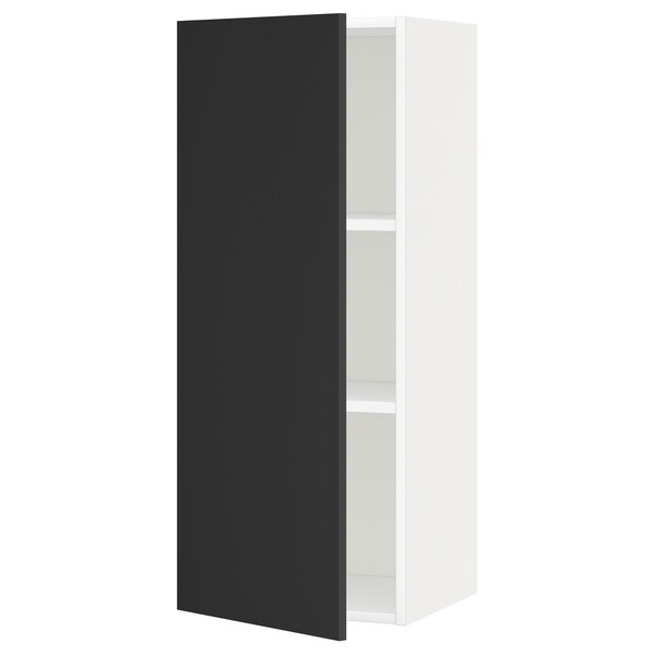 METOD Wall cabinet with shelves, white/Uddevalla anthracite, 40x100 cm