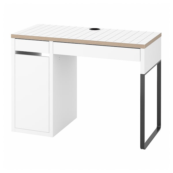 MICKE Desk, white/anthracite, 105x50 cm