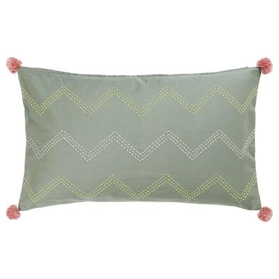 MOAKAJSA غطاء وسادة, صناعة يدوية أخضر/زهري, 40x65 سم