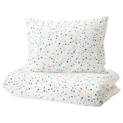 MÖJLIGHET Quilt cover and pillowcase, white/mosaic patterned, 150x200/50x80 cm