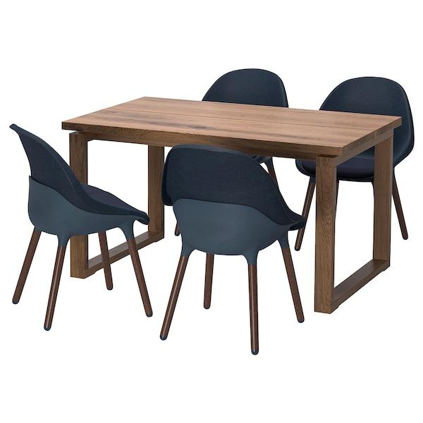 MÖRBYLÅNGA / BALTSAR Table and 4 chairs, oak veneer brown stained/black-blue, 140x85 cm