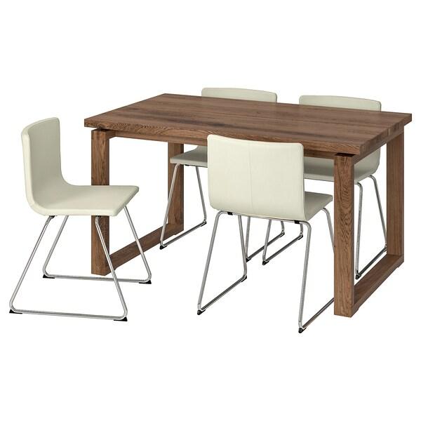 MÖRBYLÅNGA / BERNHARD Table and 4 chairs, brown/Mjuk white, 140x85 cm