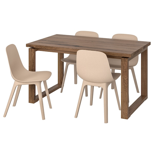 MÖRBYLÅNGA / ODGER Table and 4 chairs, brown white/beige, 140x85 cm