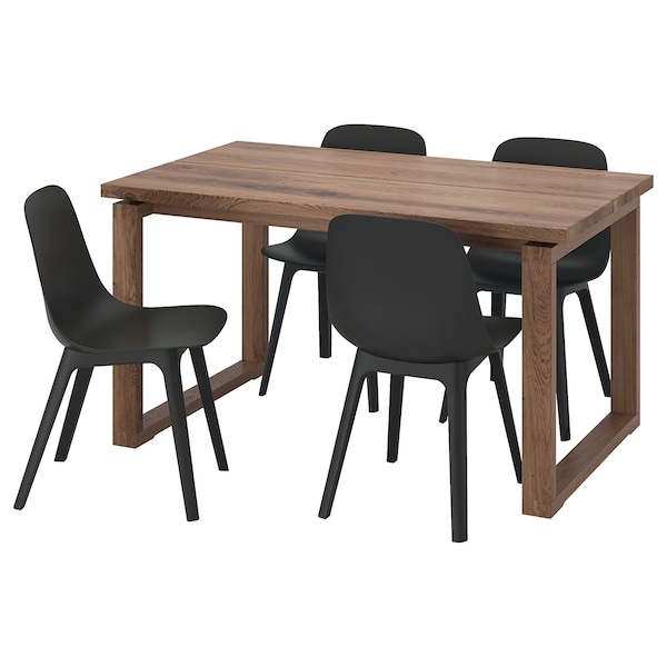 MÖRBYLÅNGA / ODGER Table and 4 chairs, oak veneer brown stained/anthracite, 140x85 cm