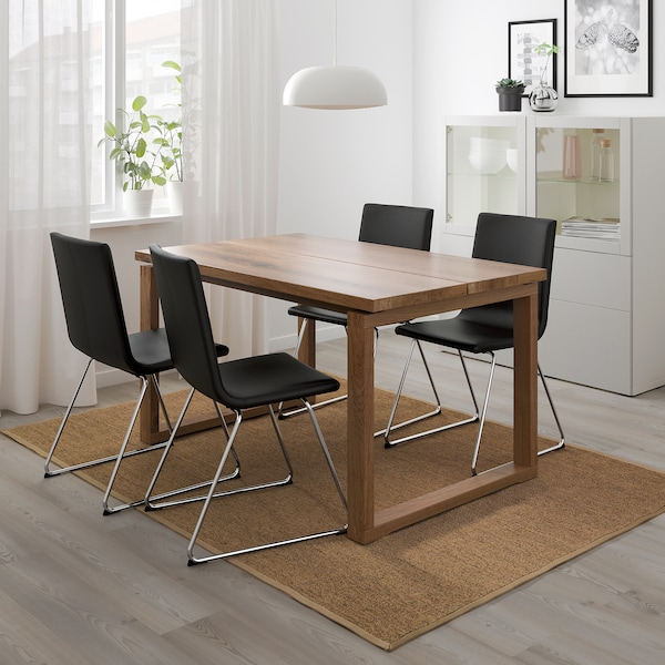 MÖRBYLÅNGA / VOLFGANG Table and 4 chairs, brown/Bomstad black, 140x85 cm