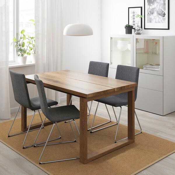 MÖRBYLÅNGA / VOLFGANG Table and 4 chairs, brown/Gunnared medium grey, 140x85 cm