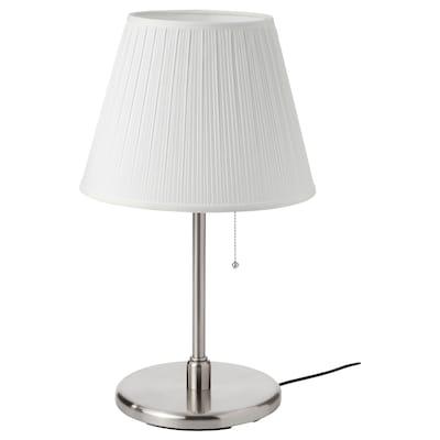 MYRHULT / KRYSSMAST مصباح طاولة, أبيض/طلاء - نيكل