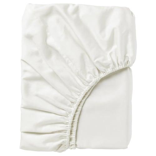 NATTJASMIN fitted sheet white 310 /inch² 200 cm 180 cm