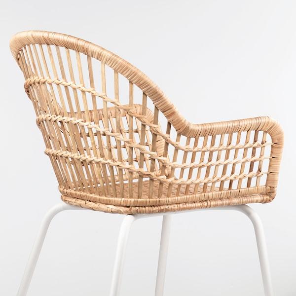 NILSOVE كرسي مع مساند للذراعين, خيزران/أبيض