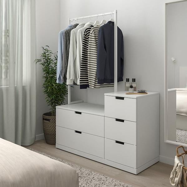 NORDLI Chest of 5 drawers, white, 120x169 cm