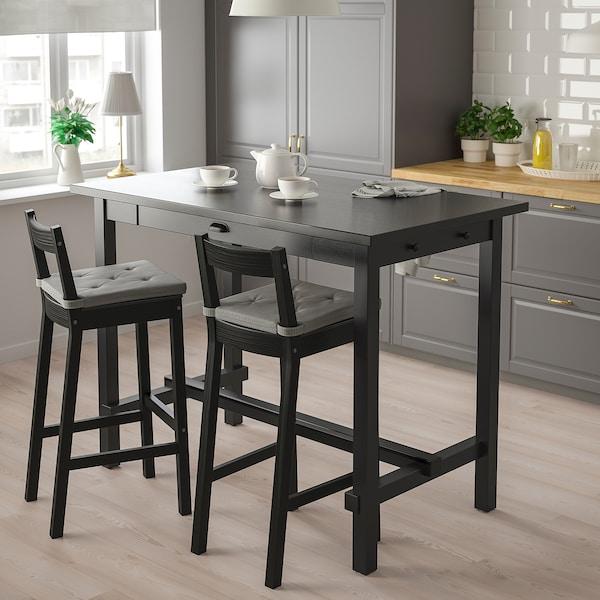 NORDVIKEN Bar stool with backrest, black, 75 cm