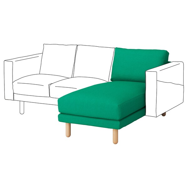 NORSBORG Chaise longue section, Edum bright green/birch