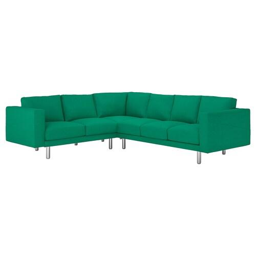 NORSBORG corner sofa, 5-seat Edum bright green/metal 88 cm 85 cm 285 cm 225 cm 18 cm 60 cm 43 cm