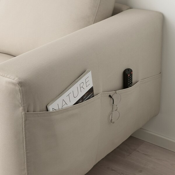 NORSBORG أريكة زاوية، 5 مقاعد, مع أريكة طويلة/Edum بيج/ معدني