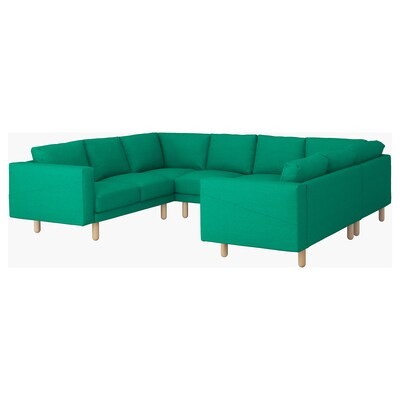 NORSBORG U-shaped sofa, 6 seat, Edum bright green/birch