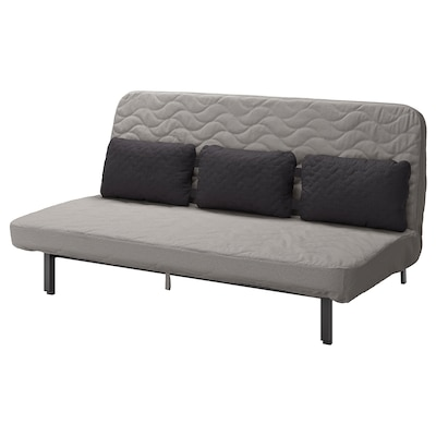 NYHAMN Sofa-bed with triple cushion, with pocket spring mattress/Knisa grey/beige
